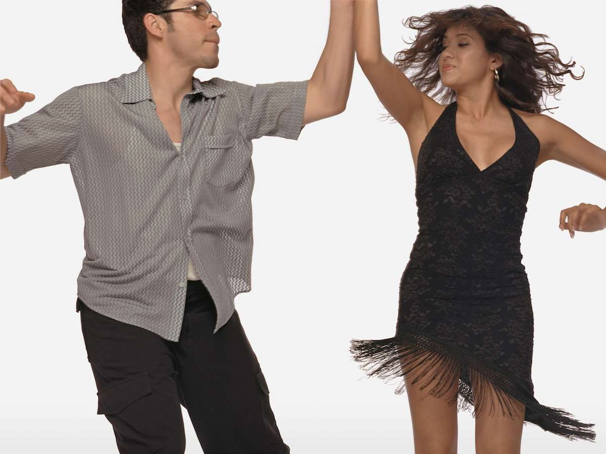 couple dancing together - black dress